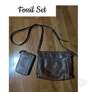 Fossil Brown Leather Bag with Wallet!